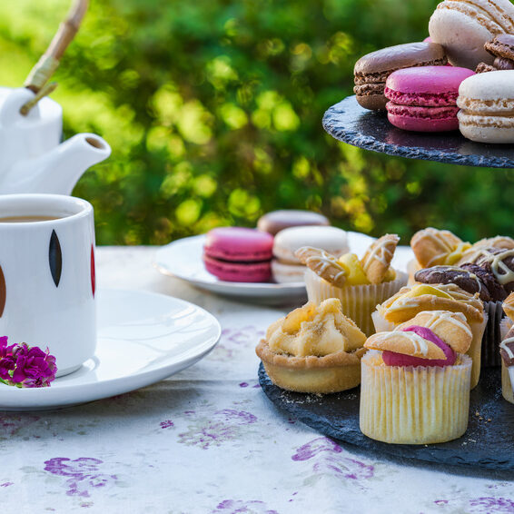 Tea with cakes and macaroons set up in the garden